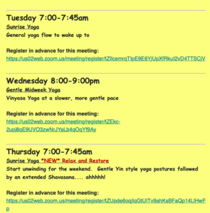 Weekly online yoga schedule